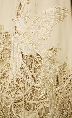 dress detail, antique bird of paradise c. 1910