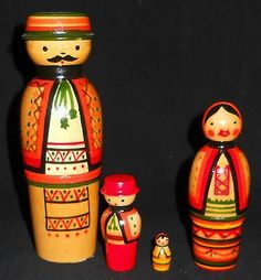 Vtg-3-pc-Traditional-Russian-Family-Nesting-Dolls-Matryoshka-West-Ukraine