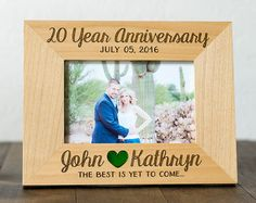 Custom Anniversary Gift, Engraved 4x6 or 5x7 Picture Frame, 20 Year Anniversary, 10 Year Anniversary, Wood Anniversary, Wedding Pictures