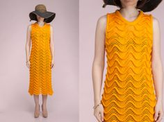 Knitted Orange above the knee dress with sensual and unusual pattern - all from Knitre SS14 collection
