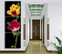 Quadro pintado flores verticais no preto                                                                                                                                                                                 Mais