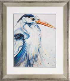 Heron 2 Piece Framed Painting Print Set