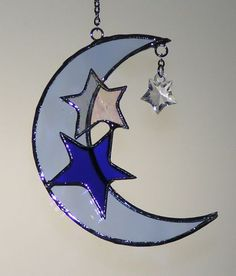Stained Glass moon and stars sun catcher: