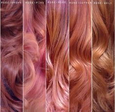 Different hues of rose gold