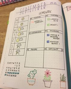 Creative Inspiration: Dedicated Weekly Bujo Spread. a small one day weekly spread just for my weather and homework assignments. Bullet journal for students. Planner ideas