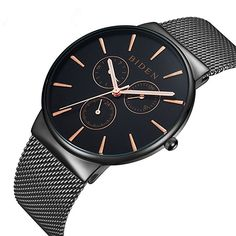 Watch,Mens Watches, Stainless Steel Black Classic Luxury Business Casual Watches Waterproof Multifunctions Quartz Milanese Mesh Band Wrist Watch