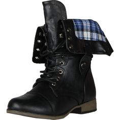 Legend8 Leatherette Military Combat Boot Lace Up Foldable Women New... ($43) ❤ liked on Polyvore featuring shoes, boots, ankle booties, military lace up boots, lace-up ankle booties, fold-over boots, military fashion and army boots