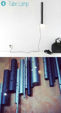 upcycled tubes can be also used in creating lamps - just put inside the tube a cable with a bulb at the end of it (1) or make round holes in the tube and mount some fluorescent lights inside (2).