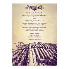 Tuscan Vintage Winery Vineyard Wedding Invitations