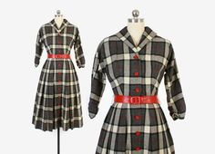 Vintage 50s DRESS / 1950s Tartan PLAID Black & by LuckyDryGoods
