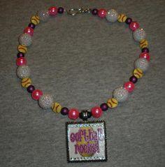 Softball Rocks Pendant on Team Spirit Beads by sassygirlsx3, $24.95