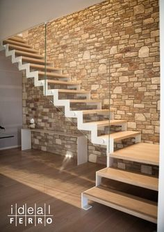 modern scale - Search with oogle Staircase Railings, Wood Stairs, Staircase Design, Stairways, Glass Stairs, Stairs In Living Room, House Stairs, Scale Design, Design Case