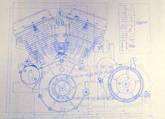 Harley Davidson 74 ci moteur 2 feuilles par BlueprintPlace sur Etsy
