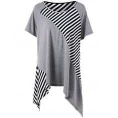 SHARE & Get it FREE | Plus Size Stripe Panel Asymmetric T-ShirtFor Fashion Lovers only:80,000+ Items·FREE SHIPPING Join Dresslily: Get YOUR $50 NOW!