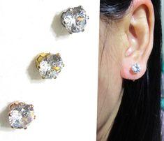 CZ Faux Diamond Rhinestone Clip on earrings |11G| Invisible Bridal clip on stud earrings, Wedding clip-on earrings, Non Pierced earrings