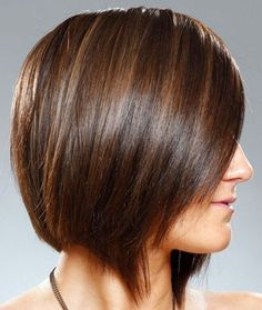 Straight, fringy bob for fine hair. Dimensional color adds interest to fine hair.