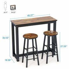 3 Piece Set Pub Table Bar Stools Dining Furniture Counter Height Chairs Brown for sale online Kitchen Dining Sets, Dining Room Sets, High Table Kitchen, Dining Chairs, Lounge Chairs, Kitchen Island, Metal Furniture, Kitchen Furniture, Furniture Stores