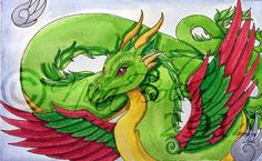 Amphithere Dragon 2 Watercolor by The-GoblinQueen.deviantart.com on @DeviantArt
