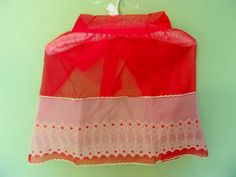 Vintage 1950s Half Apron Red Sheer Gauze White by AnnesGlitterBug