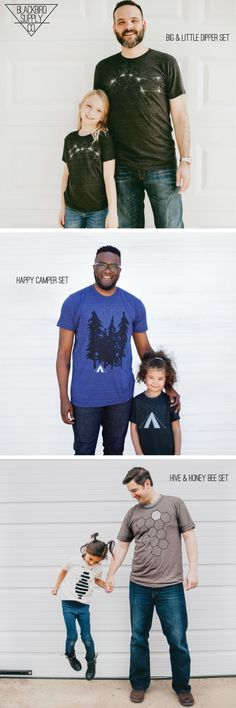 Show him some love this year with one of our father / child t-shirt sets. Each ready-to-gift duo features matching tees for dad and the little one, and comes neatly packaged in a reusable drawstring bag. Choose from the 3 sets pictured (Big & Little Dipper, Happy Camper, and Hive & Honey Bee), or mix and match to create the perfect father-daughter or father-son combo. Shop for these and other unique Father's Day gift ideas in our Etsy shop.