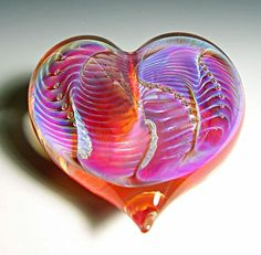 """Orange Silver Heart Paperweight"" Art Glass Paperweight by Robert Burch on Artful Home"