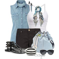 Denim Top by ccroquer on Polyvore featuring moda, MANGO, Jimmy Choo, Meredith Wendell, Principles by Ben de Lisi, Lisa August, Athena Procopiou, Yves Saint Laurent and American Eagle Outfitters