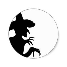 witch silhouette | Witch Silhouette Stickers and Sticker Designs - Zazzle UK