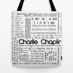 Charlie Chaplin Quotes Tote Bag Custom Color Black and White Market Shopping Beach or Gift bag by RandomOasis