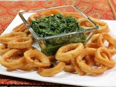 Get Bal Arneson's Curried Calamari with Cilantro and Mint Chutney Recipe from Cooking Channel