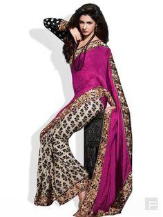 HIBA // Ornate Jacquard Saree With Printed Pleats