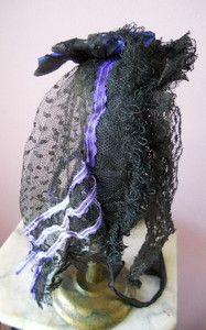 1850s / Civil War Women's Antique Purple Silk Netted Veil Lace Hat Bonnet | eBay