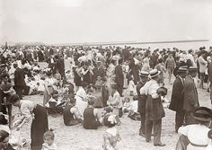 """Coney Island beach scene, circa 1900. """" look how the men dressed up for the beach back then! """"we've been brainwashed to think of modesty as only a """"women's thing."""" It wasn't."""" (Wendy Shalit, writer on modesty)."""