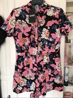e78c1660cef Misguided Floral Playsuit Jumpsuit Party 12 14 BNWT  fashion  clothing   shoes