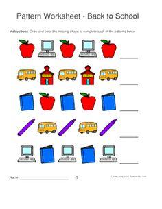 back to school pattern worksheets for kids 1 2 pattern draw and color - Color Pattern Worksheets