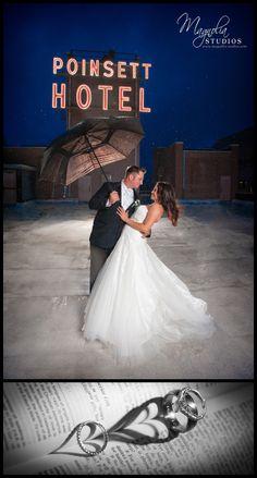 Strobist wedding photography in the rain atop the Westin Poinsett in Greenville SC by www.magnolia-studios.com