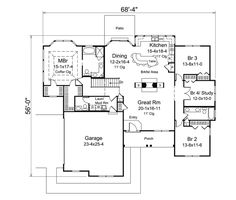 Traditional Style House Plan - 4 Beds 2.5 Baths 2241 Sq/Ft Plan #57-613 Floor Plan - Main Floor Plan - Houseplans.com