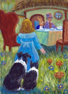 """""""Tea Time Watch"""" featuring Border Collies, Sammy and Breagh, watching Alice as she joins the March Hare and Hatter for tea, from an original ACEO painting by North Carolina artist, Fran Brooks. www.artistnannie.com"""