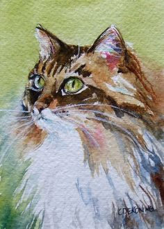 Cat painting watercolor long hair green eyes PRINT