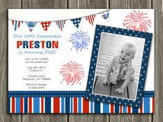 4th of July Birthday Invitation - FREE thank you card included..
