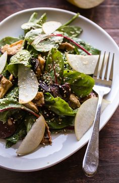 Roasted shiitake and asian pear salad with miso-sesame vinaigrette. A light salad packed with flavor!