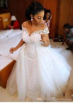 Amazing Off the Shoulder Arabic Mermaid Wedding Dress 2020 With Detachable Train Lace African Wedding Gown Stunning Wedding Dresses, Country Wedding Dresses, Boho Wedding Dress, Dream Wedding Dresses, Designer Wedding Dresses, Bridal Dresses, Wedding Gowns, Lace Wedding, Mermaid Wedding