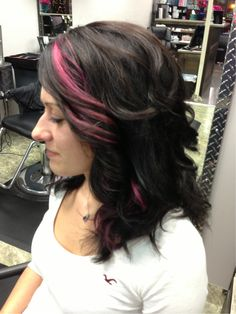 Added By Britney Scott. Goldwell Topchic darkest brown not quite black. Goldwell Colorance with the core lotion on her ends. For the pink, we pre lightened then re-colored with Goldwell Elumen PK@ALL.  Processing time 30/45 min.