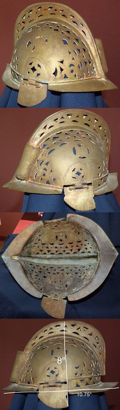 Moro (Philippine) burgonet, Spanish style bronze helmet cast in one piece with hinged ear pieces, inside dimensions are 8x7 inches.