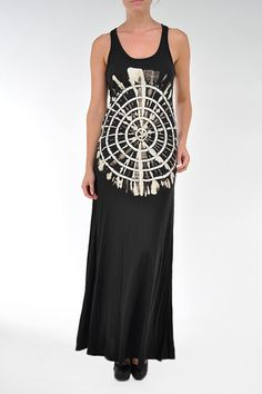 Top Shop Long Maxi Dress In Black With Circle Hand Wash Dip Dye