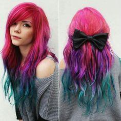 Pink purple blue teal hair