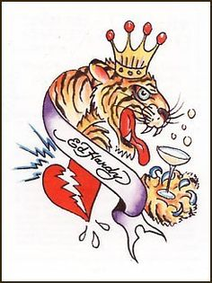Tiger King Temporaray Tattoo by Tattoo Fun. $4.95. This Temporary really does exemplify that the Tiger is king. The art work is exactly what youd expect on an Ed Hardy design. The colors are bold and the artwork is a bit comial.