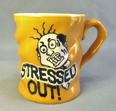 Mustard Yellow Ceramic STRESSED OUT Coffee Cup Mug #CoffeeMug #StressedOut #Twisted #Yellow #NoveltyMug