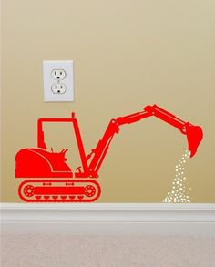 Vinyl Wall Decal Construction Backhoe Silhouette