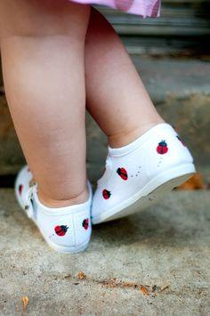 Ladybug shoes - Red ladybugs hand painted on white maryjane shoes for girls - infant, baby, toddler via Etsy