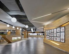 Image 21 of 22 from gallery of Wuhan Tencent R&D Center / IDEAL. Photograph by Bin Zhao (Unique Architecture Photography) Unique Architecture, Wuhan, Atrium, Track Lighting, Ceiling Lights, Gallery, Dining, Photography, Home Decor